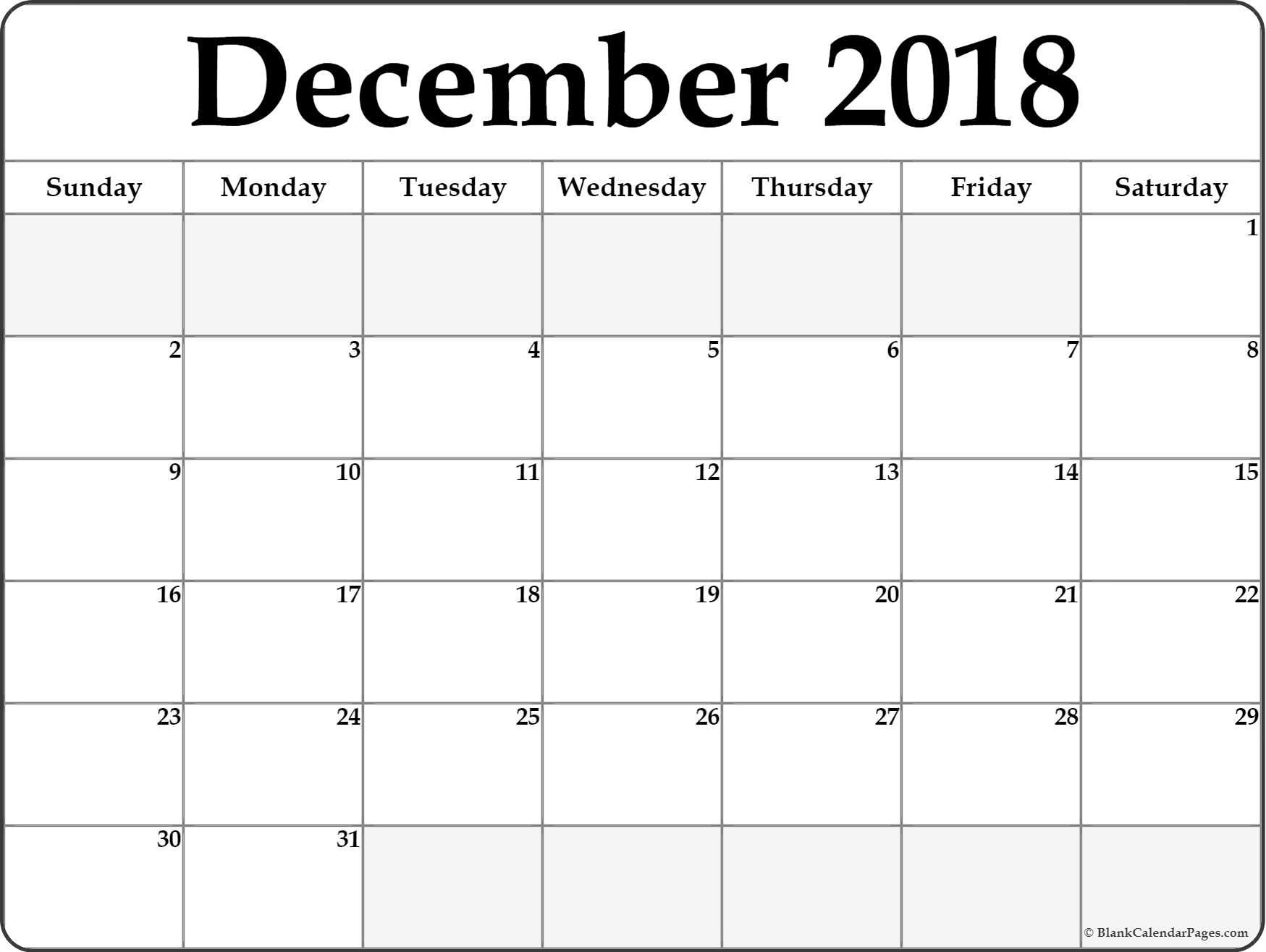 photograph regarding Printable December Calendar identified as December 2018 Calendar Printable- Absolutely free Templates - Printable