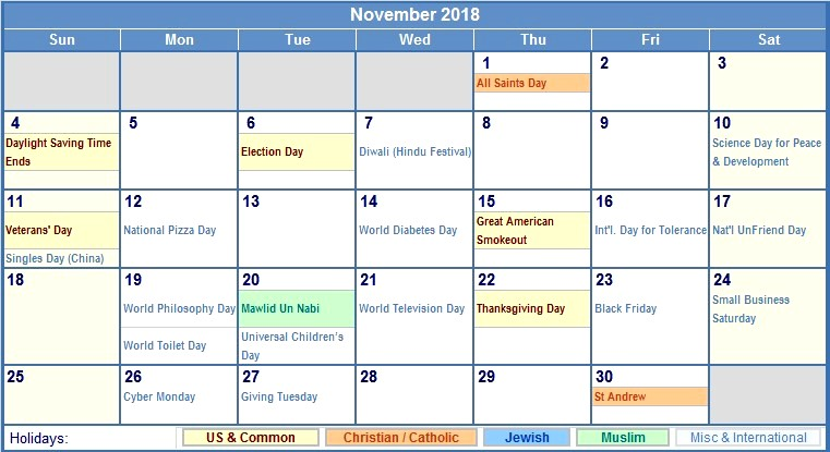 Calendar November 2018 with Holidays