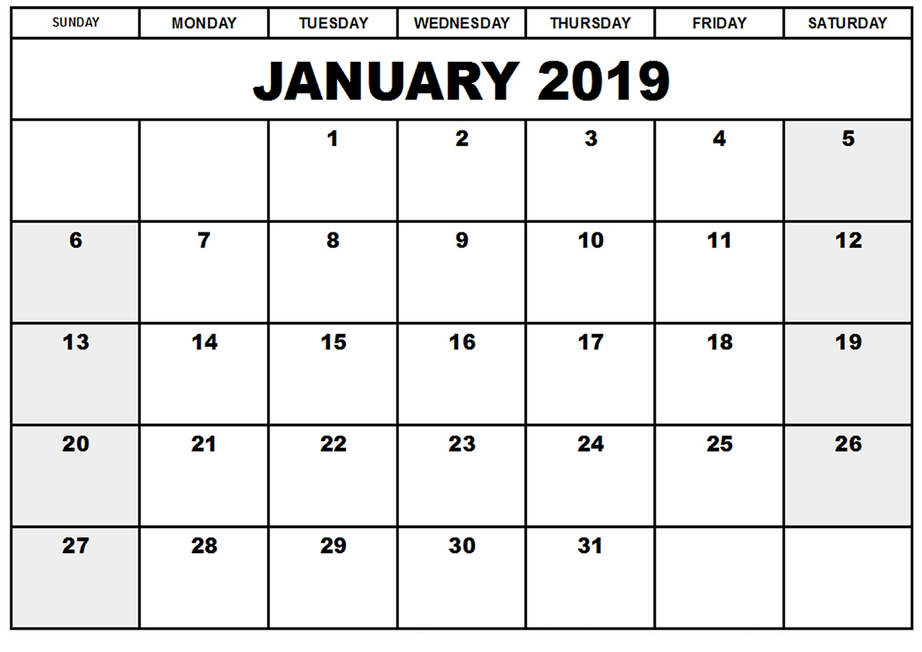 photograph about Printable November Calendar Pdf called January 2019 Calendar Printable - Totally free Templates - Printable