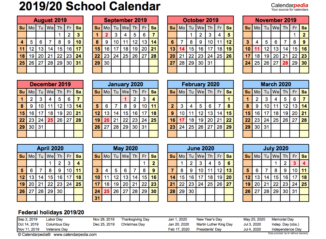 Calendar Sept 2020.2019 School Calendar Printable Academic 2019 2020 Templates