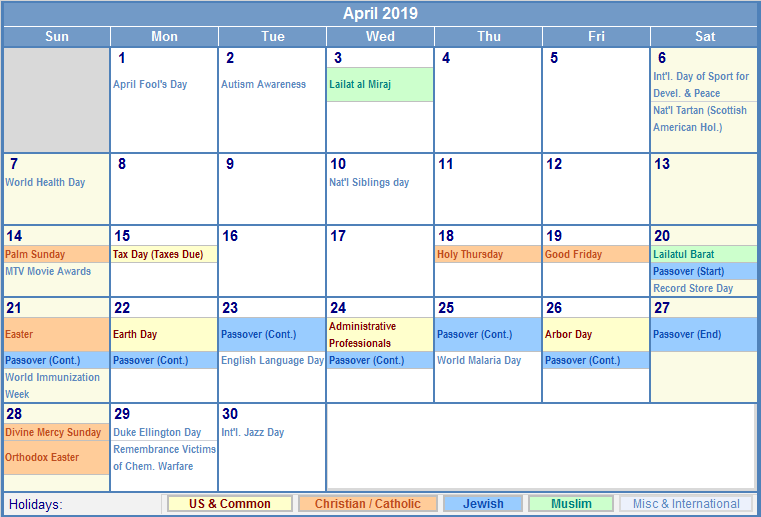 april 2019 calendar with holidays