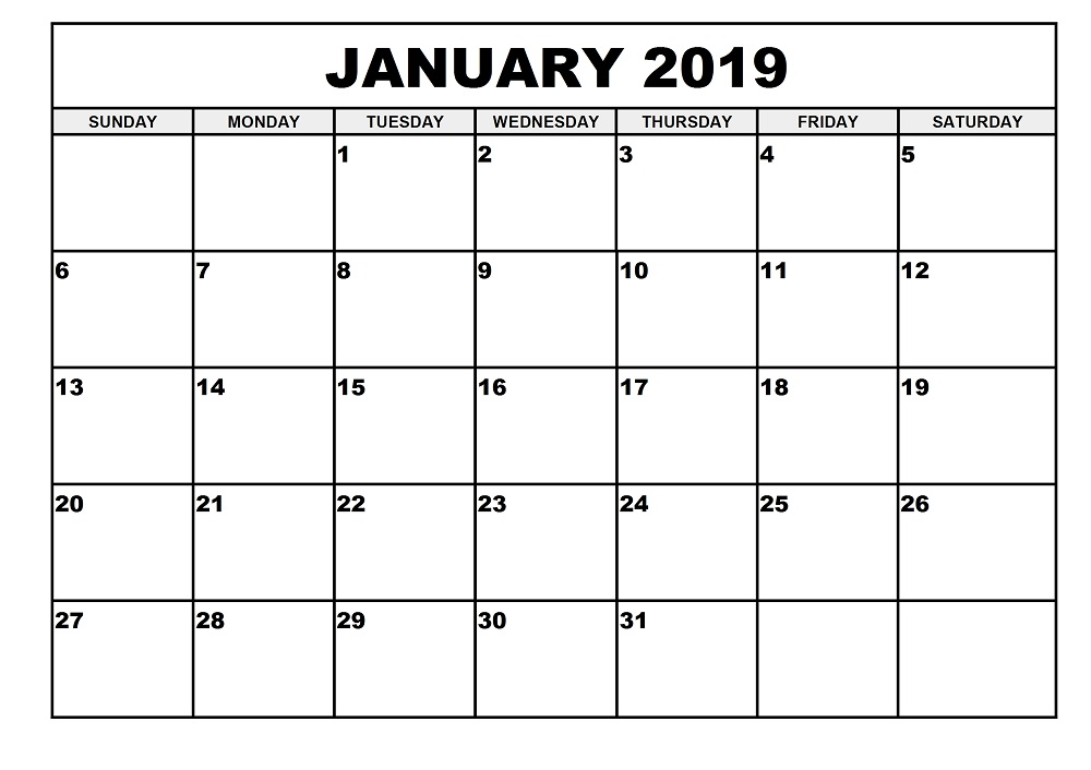 graphic relating to January Printable Calender titled 2019 Regular monthly Calendar Printable (January towards December