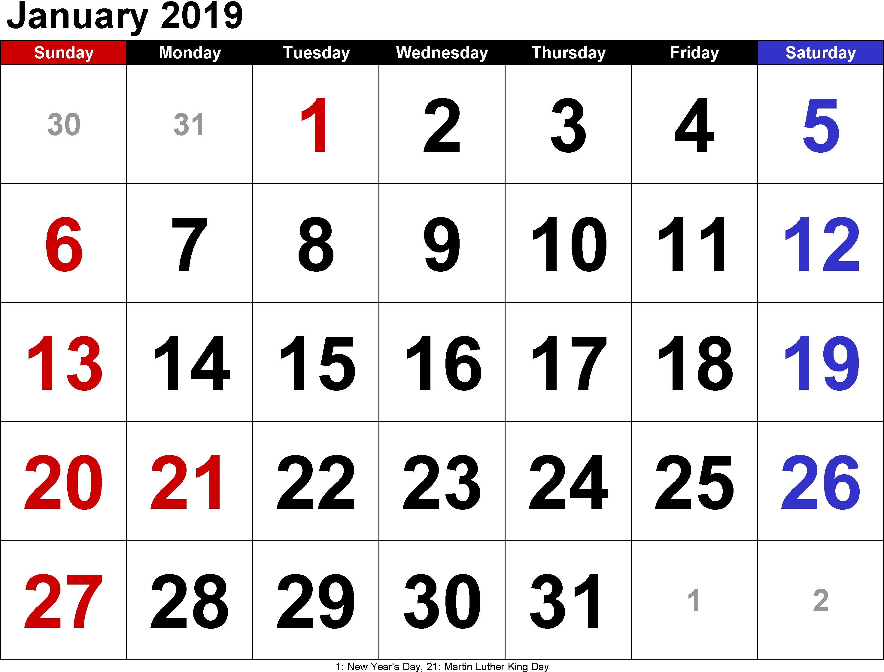 January 2019 Calendar Printable Free Templates Printable