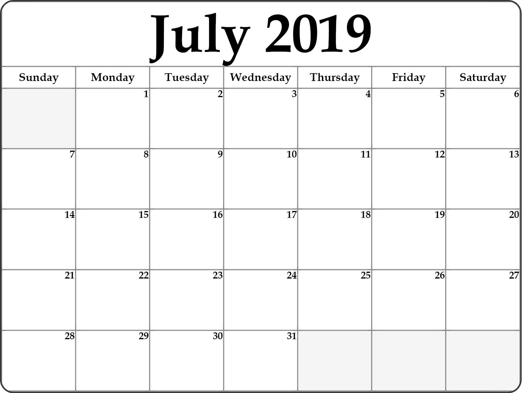 July monthly calendar 2019