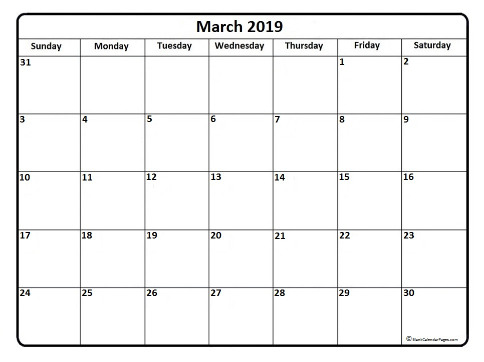 picture about Calendar March Printable identify March 2019 Calendar Printable - Cost-free Templates - Printable