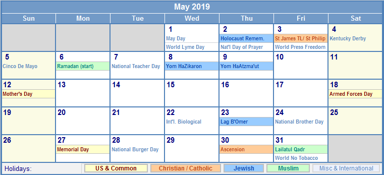 Free May 2019 Calendar Printable Templates Download Pdf Holidays