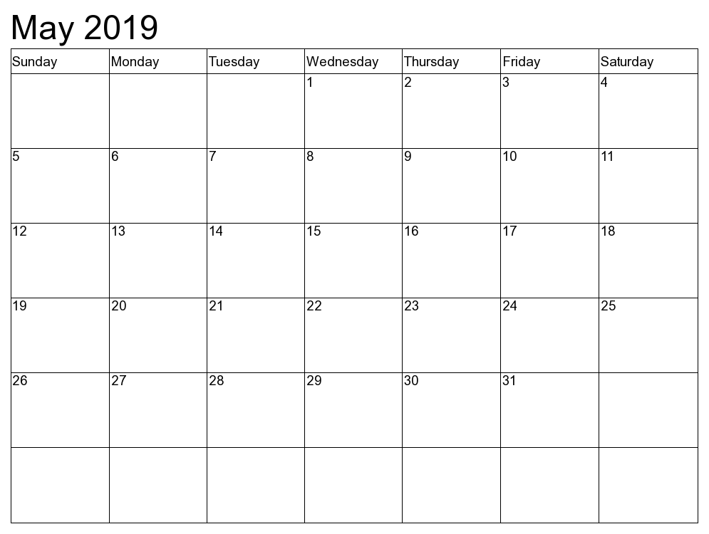 Free May 2019 Calendar Printable Templates Download Pdf