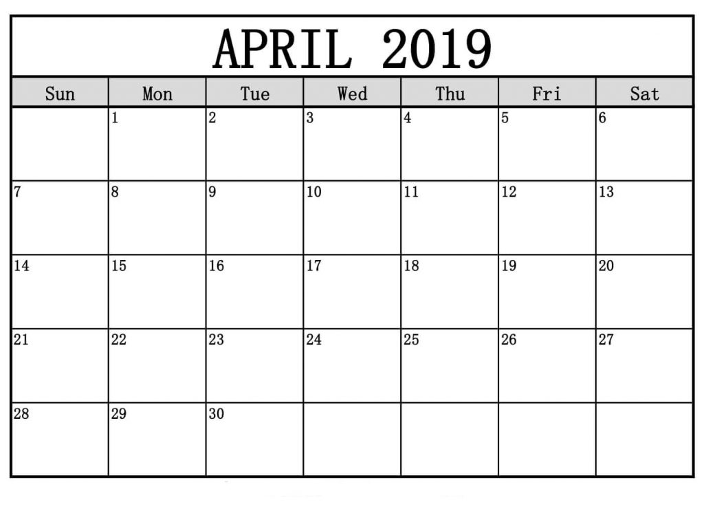 graphic relating to Free Printable Monthly Calendar With Holidays referred to as April 2019 Printable Calendar No cost Templates - Printable