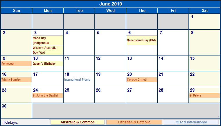 June 2019 Monthly Calendar Printable Free Templates Printable