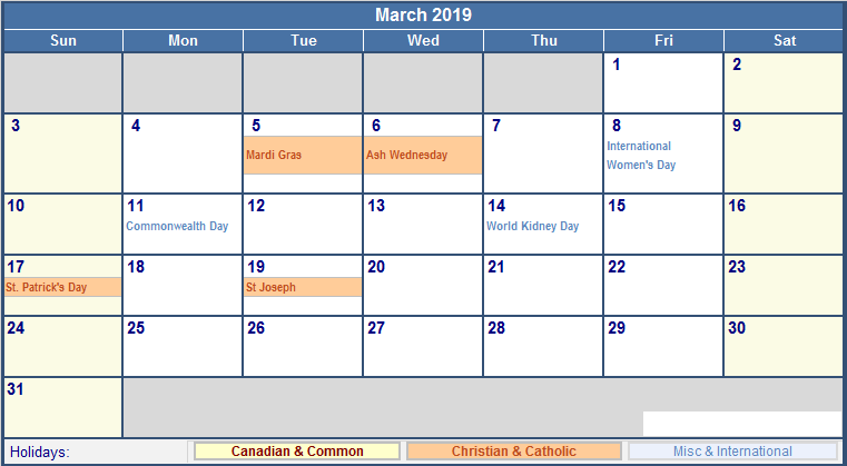 March 2019 Calendar Printable Free Templates Printable Calendar 2019