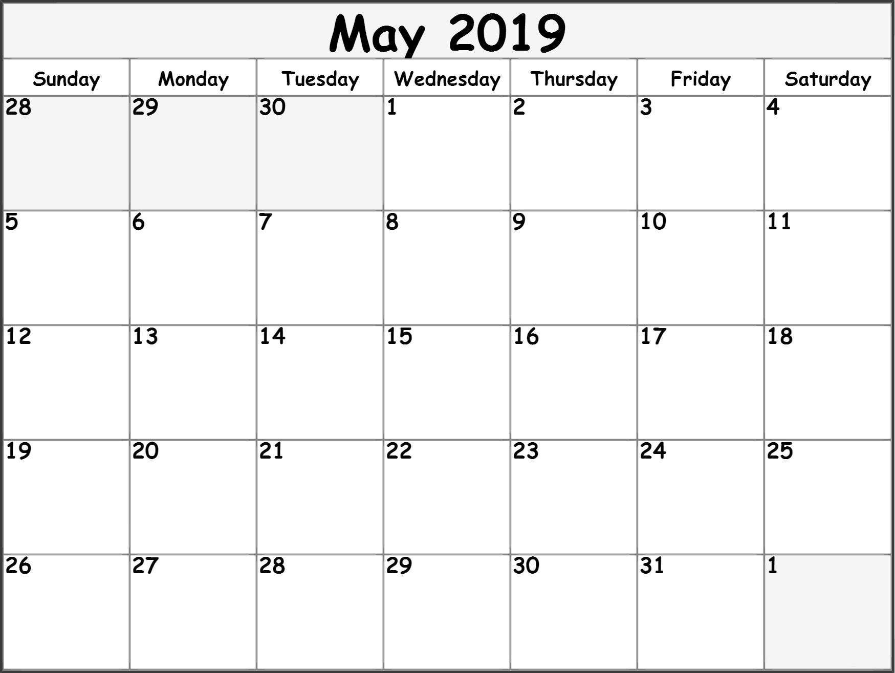 May 2019 Calendar, May 2019 Printable Calendar, 2019 Monthly Calendar, Monthly Calendar 2019, Printable Monthly Calendar, Monthly 2019 Calendar Templates