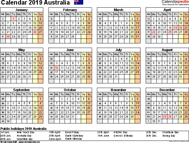 2019 Printable Calendar For Australia Public Holidays Printable