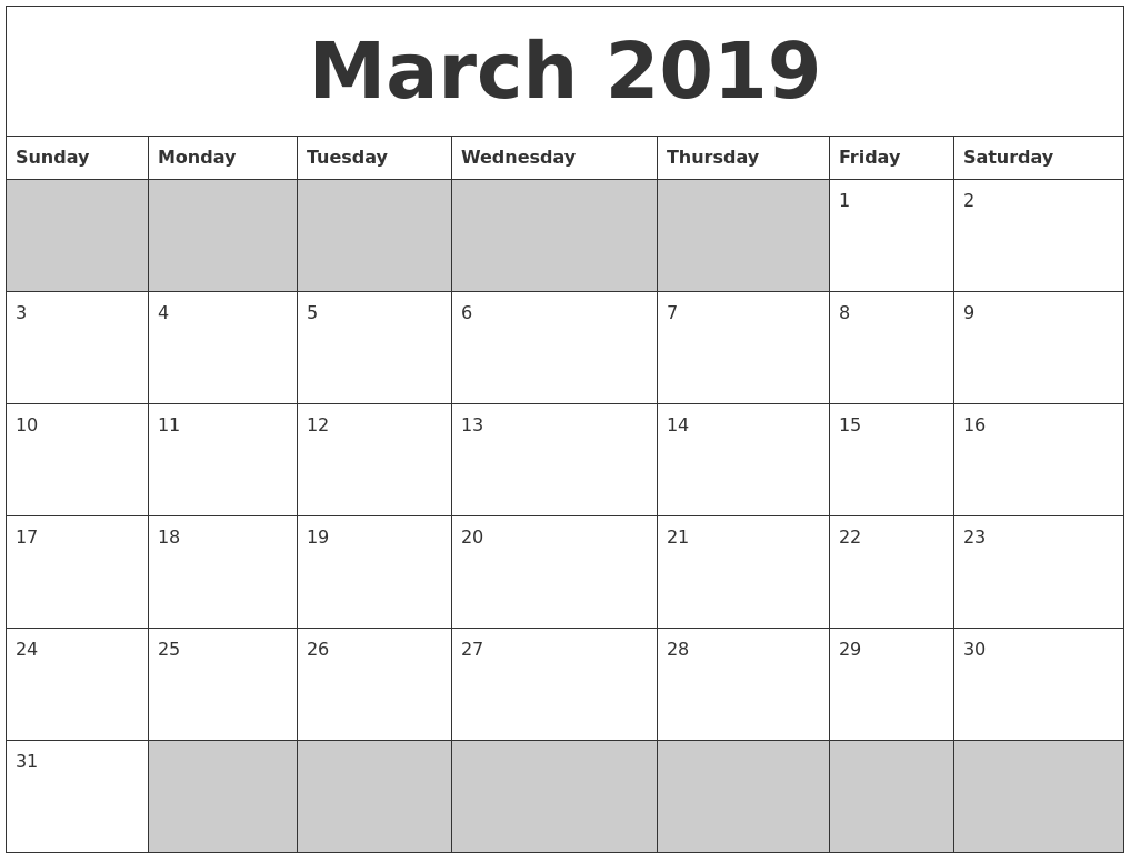 photo regarding Printable March Calendar Pdf named March 2019 Calendar PDF Term Excel - Down load At present