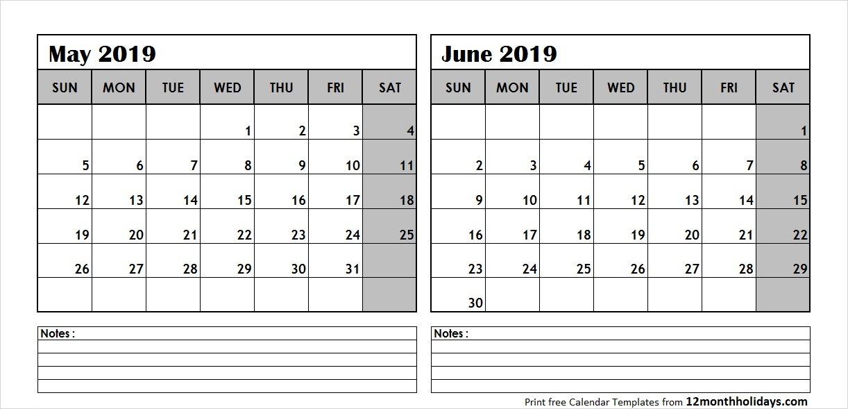 Blank June 2019 Printable Calendar.May And June 2019 Calendar 2 Months Printable Templates