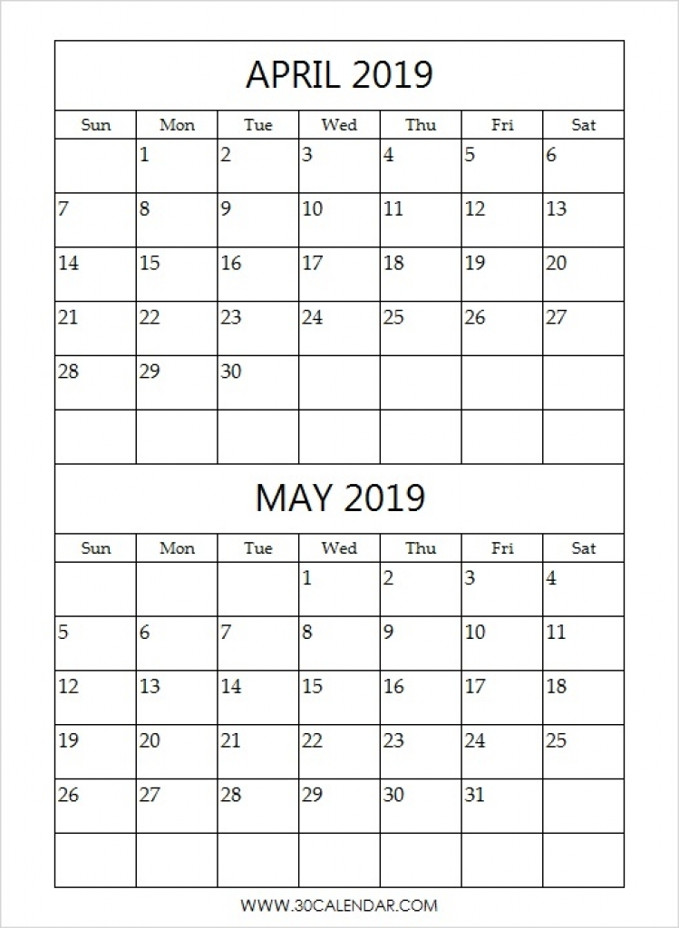 April and May 2019 Calendar (2 Months Printable Templates