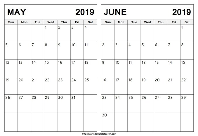 photo relating to Printable June titled May well and June 2019 Calendar (2 Weeks Printable Templates