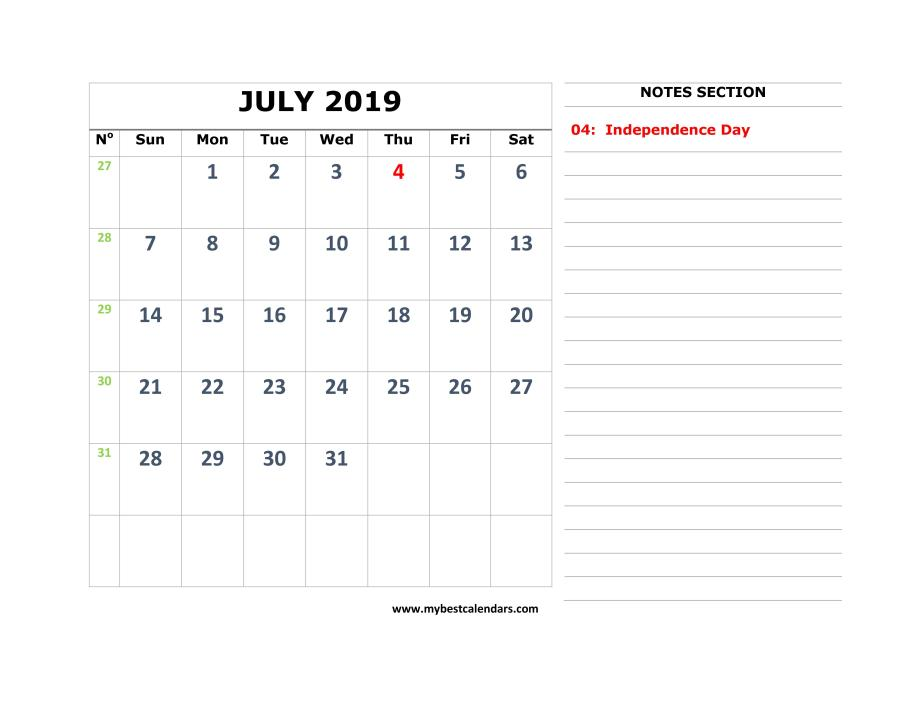 image relating to Printable July Calendar named Absolutely free July 2019 Calendar Printable Templates - Obtain PDF