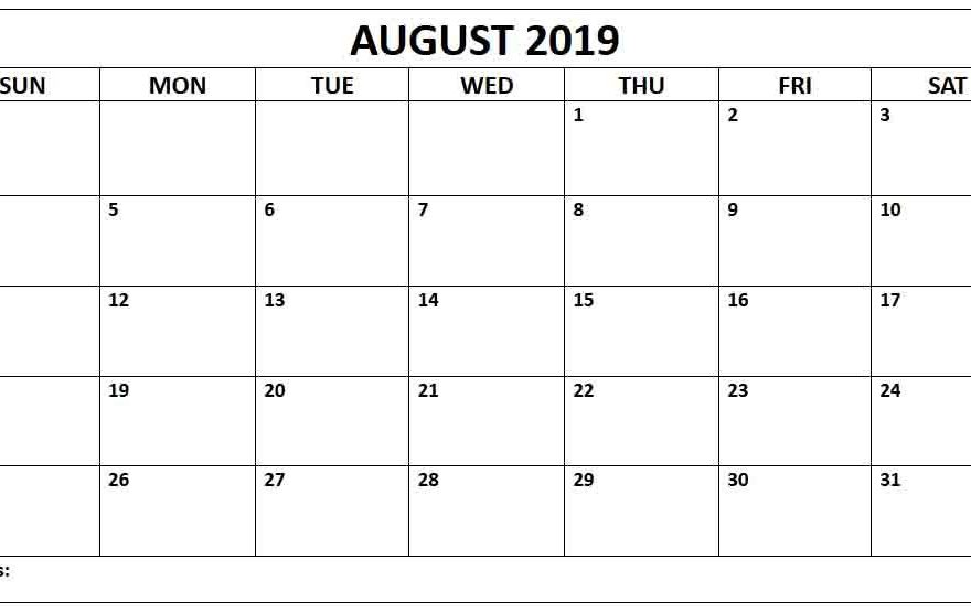 photo about Calendar for Printable identified as No cost August 2019 Calendar Printable Templates - Down load PDF