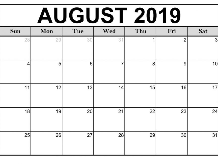 Free August 2019 Calendar Printable Templates - Download PDF