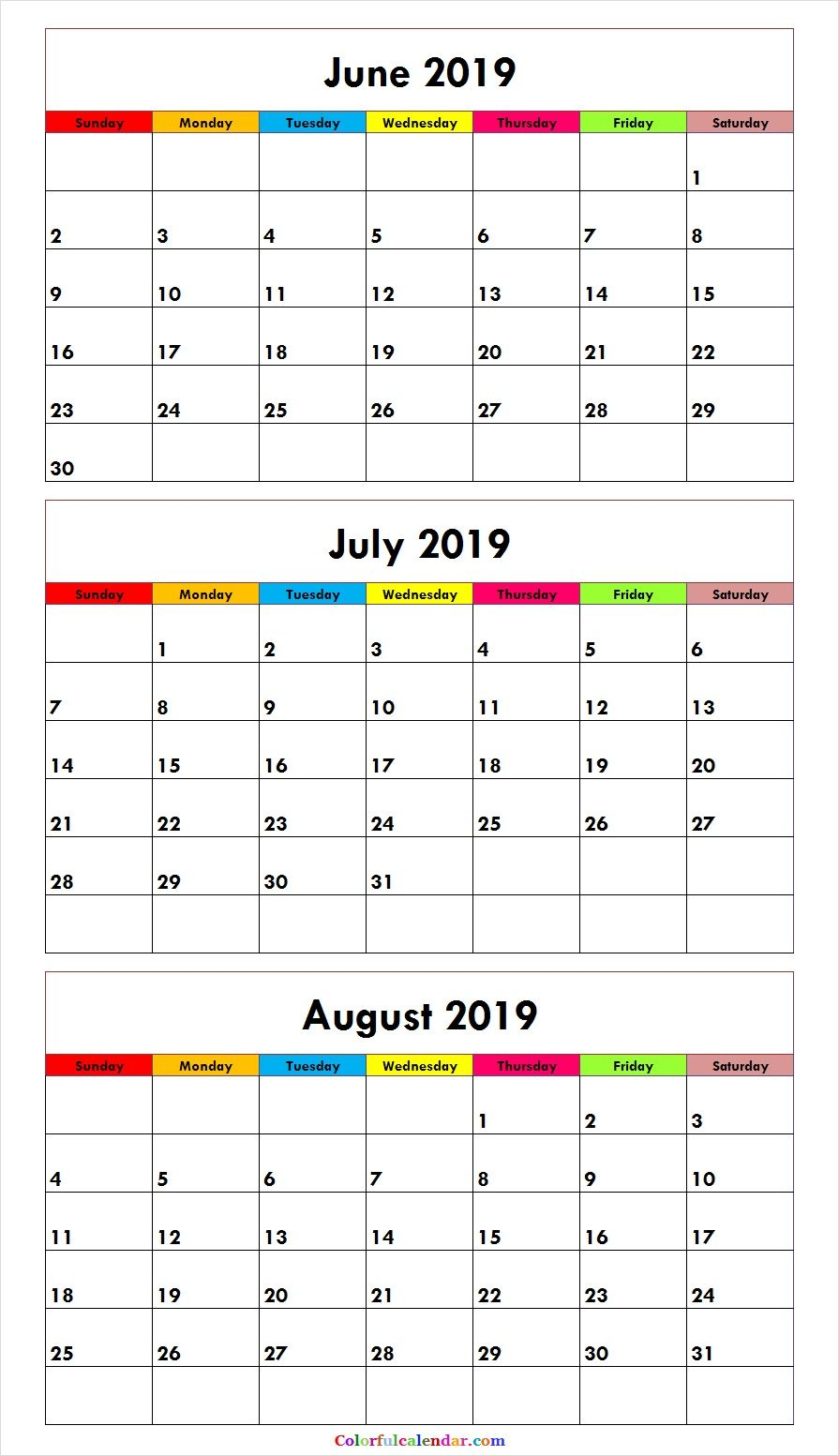 picture relating to 3 Month Printable Calendar referred to as Free of charge June July August 2019 Calendar (3 Weeks) Printable