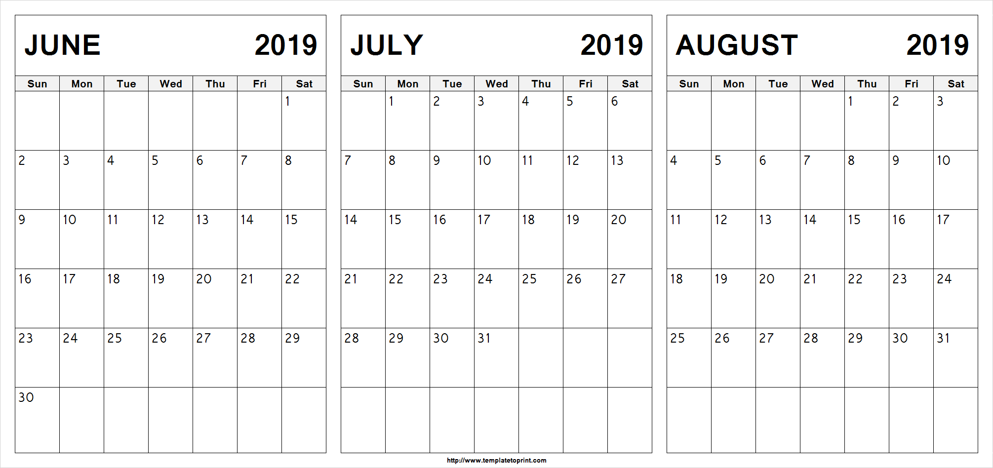 June July August 2019 Calendar Printable.Free June July August 2019 Calendar 3 Months Printable Template