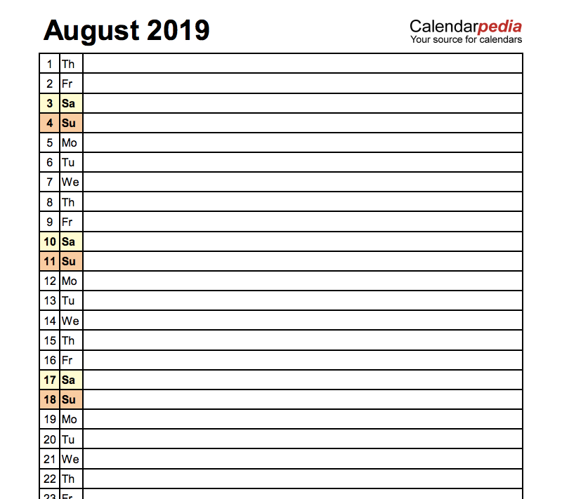 Editable August 2019 Calendar in PDF, Word, Excel