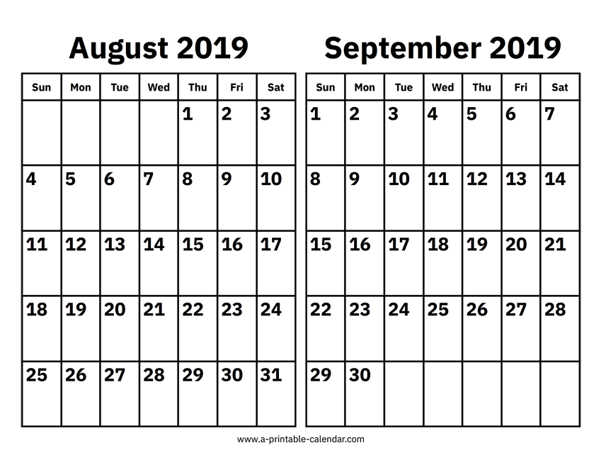 picture about Free August Calendar Printable known as Blank August and September 2019 Calendar Printable Templates