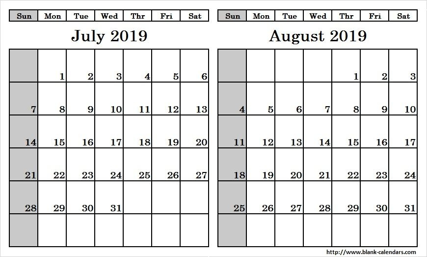 image regarding Printable 2 Month Calendar known as July and August 2019 Calendar 2 Thirty day period Templates Printable