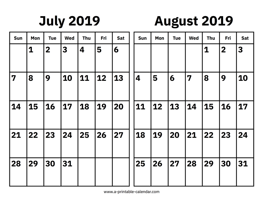 July and August 2019 Calendar 2 Month Templates Printable