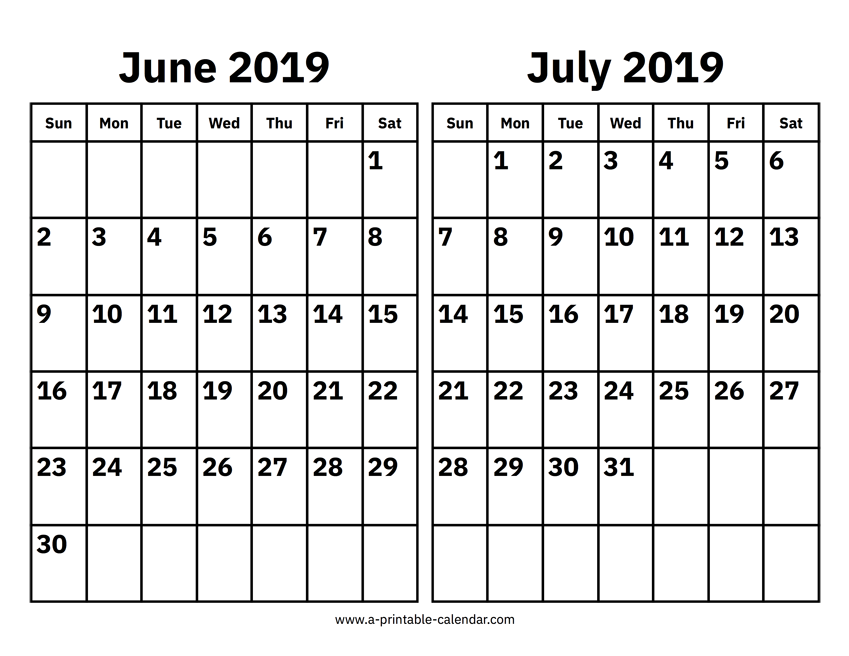 2019 June Calendar.June And July 2019 Calendar 2 Months Printable Templates