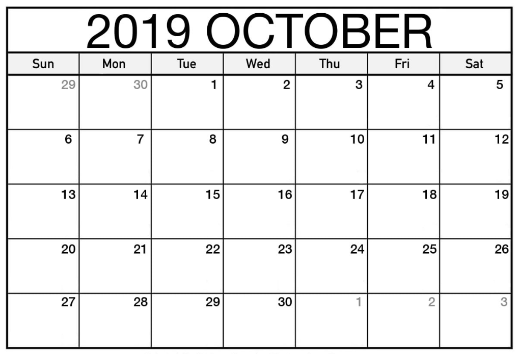 picture relating to Printable Calendar October referred to as Absolutely free Oct 2019 Calendar Printable - Blank Templates
