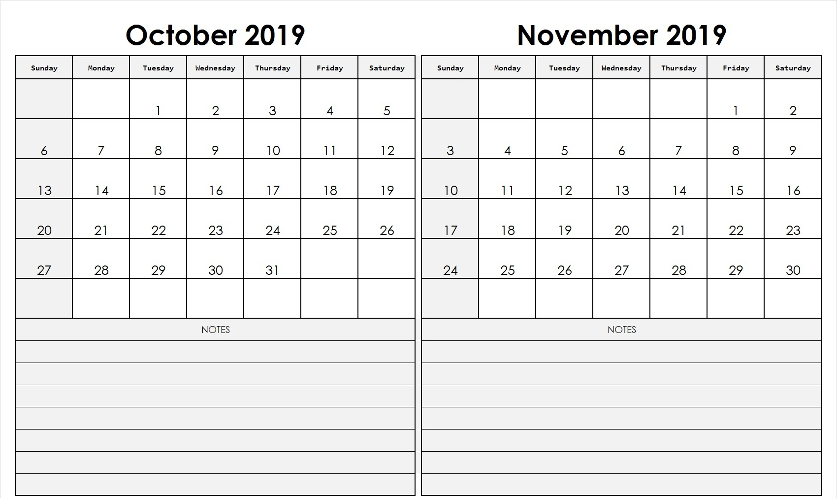 graphic relating to November and December Calendar Printable called Oct November 2019 Calendar Printable (2 Thirty day period Templates