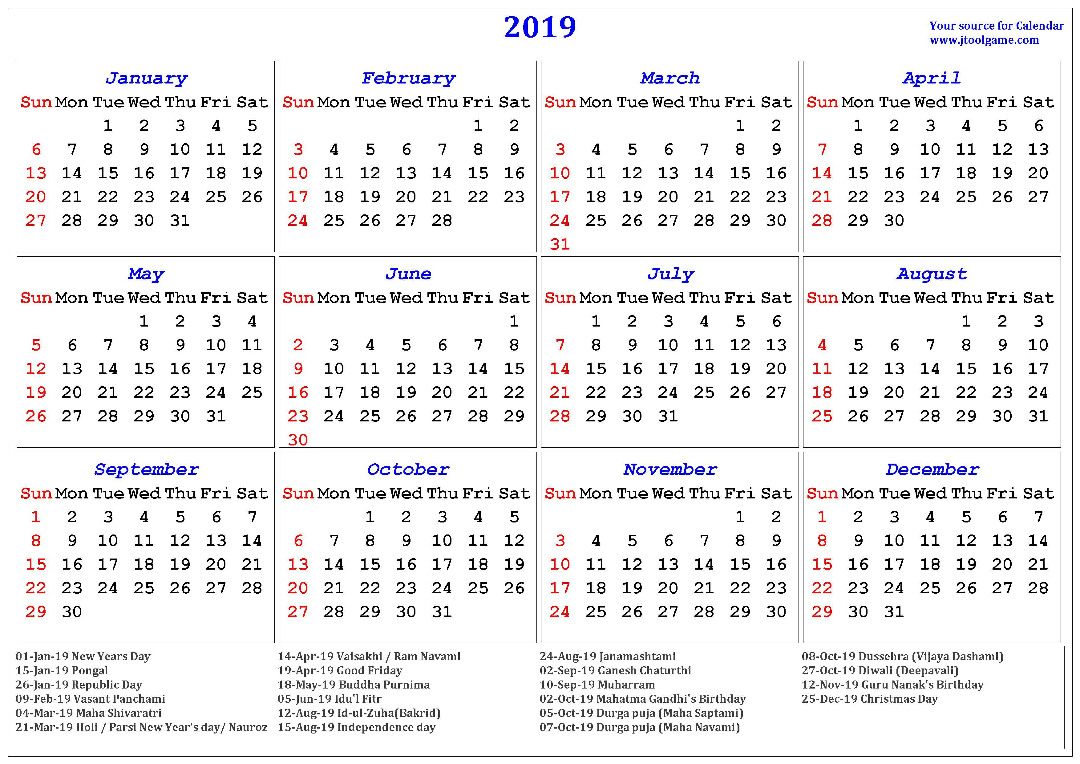 Indian Calendar 2020 With Holidays And Festival 2019 Hindu Calendar with Tithi | Tyohar, Holidays, Festivals