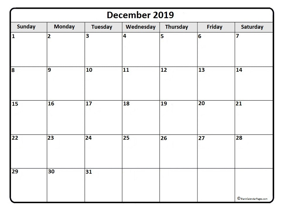 Monthly Calendar October November December 2019 2019 Monthly Calendar Printable (January to December) Templates