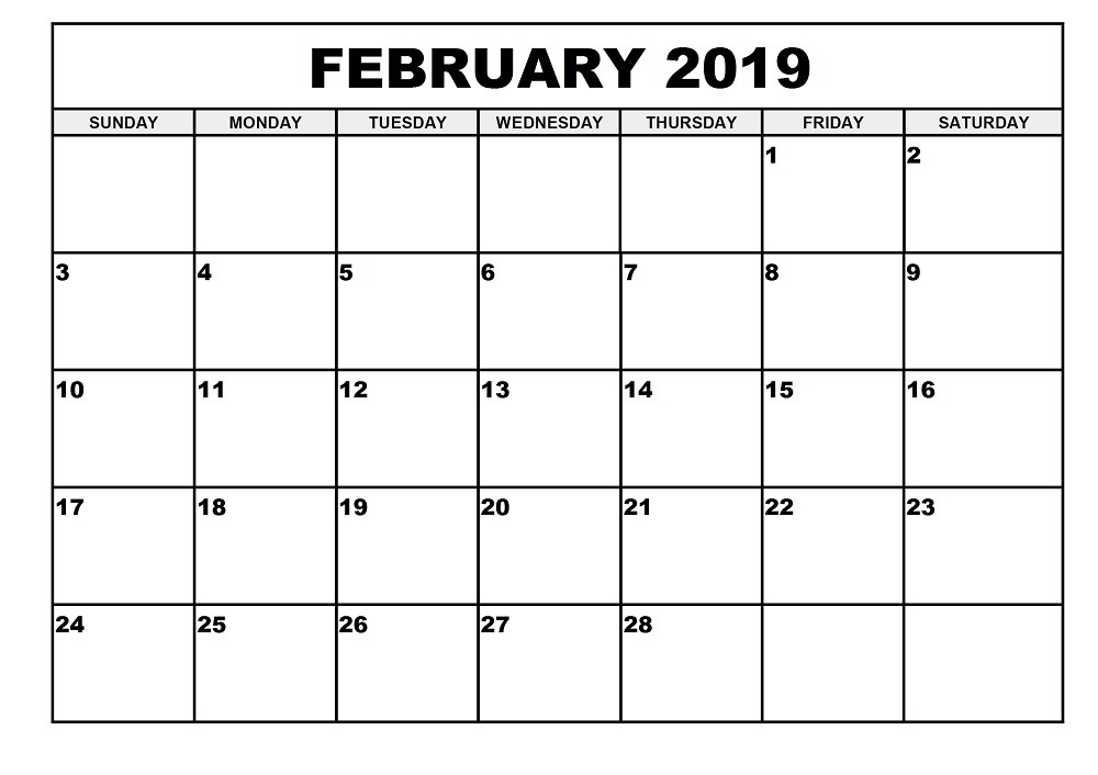 2019 Monthly February Calendar Monday-Sunday 2019 Monthly Calendar Printable (January to December) Templates