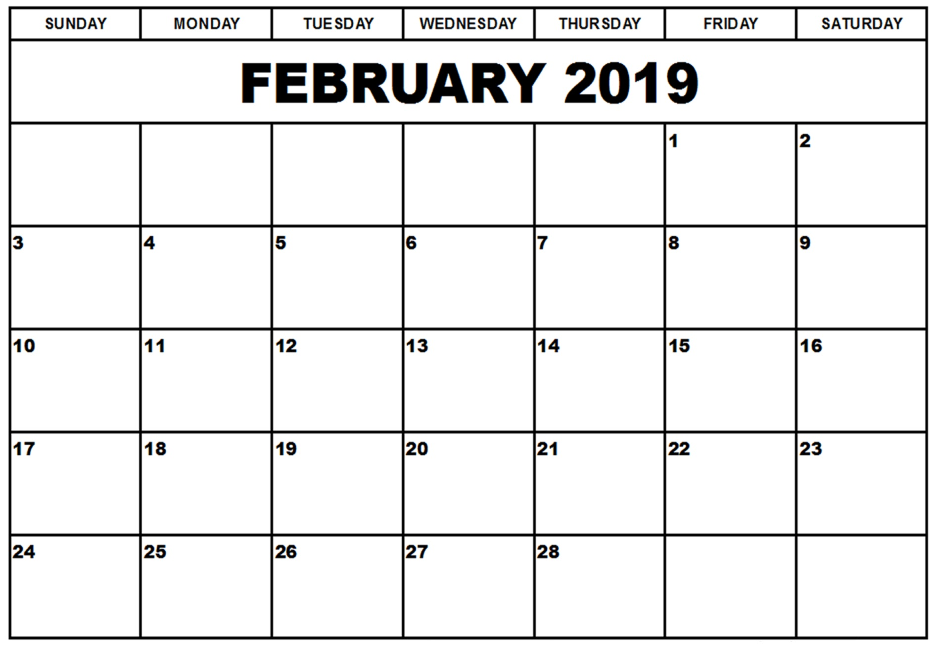 February 2019 Calendar Showing Only Fridays February 2019 Calendar Printable   Free Templates   Printable