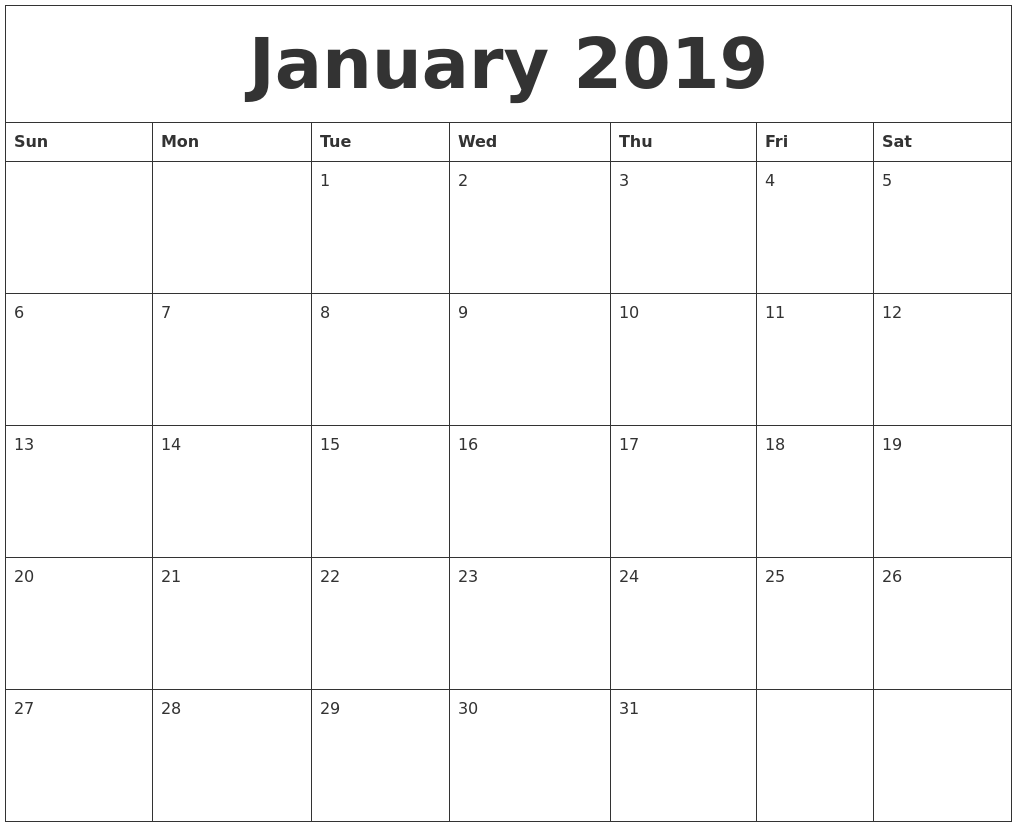 Free Printable January 2019 Calendar Pdf January 2019 Calendar Printable   Free Templates   Printable