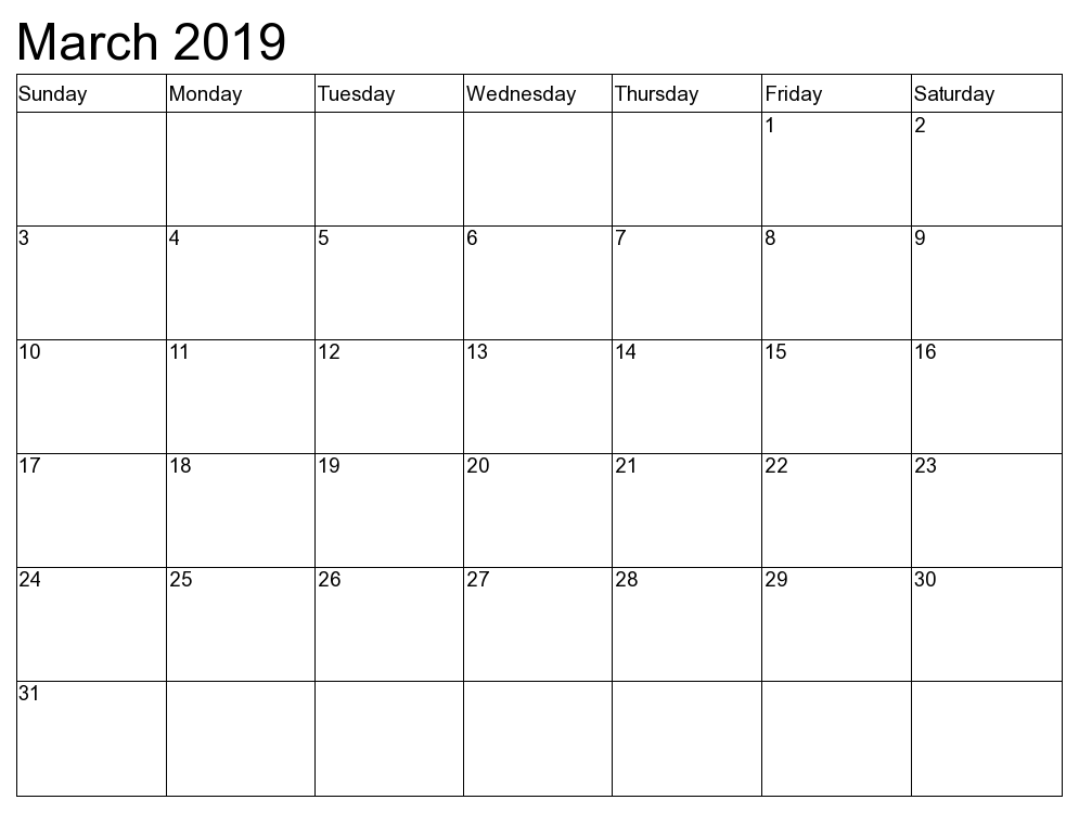 Blank Calendar February March 2019 Printable March 2019 Calendar Printable   Free Templates   Printable