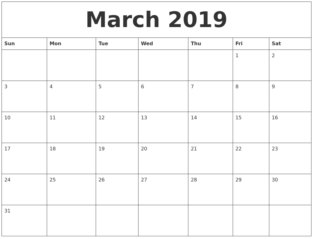 Template Calendar 2019 February March March 2019 Calendar Printable   Free Templates   Printable