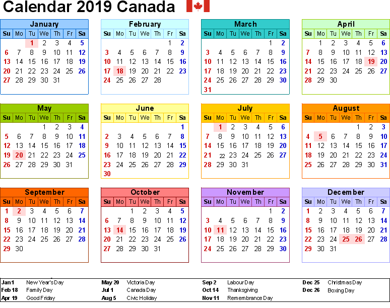 2019 Canadian Calendar 2019 Yearly Calendar for Canada   Holidays, PDF, Word, Excel